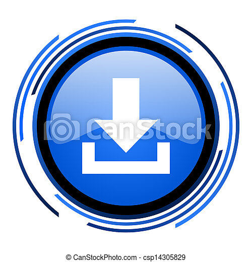 download circle blue glossy icon - csp14305829