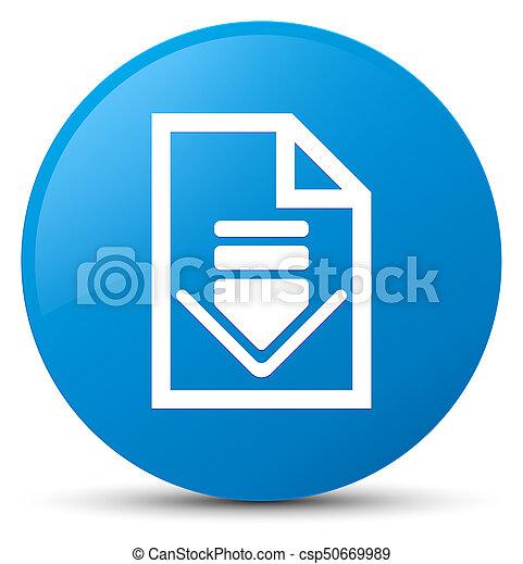 Download document icon cyan blue round button - csp50669989