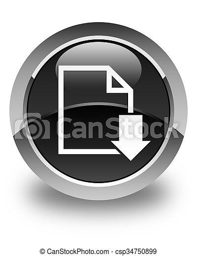 Download document icon glossy black round button - csp34750899