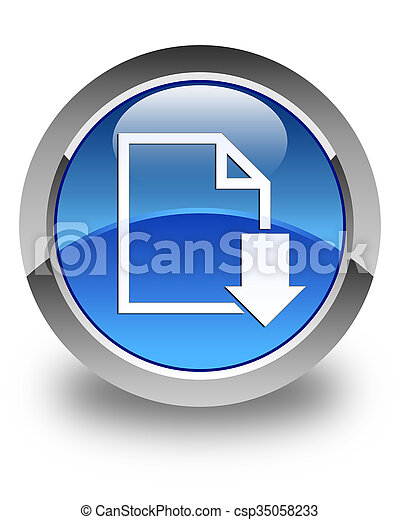 Download document icon glossy blue round button - csp35058233
