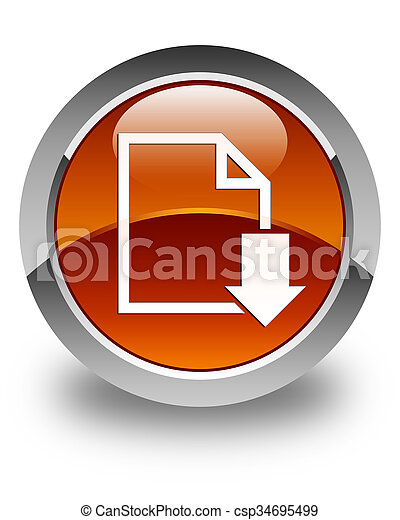 Download document icon glossy brown round button - csp34695499