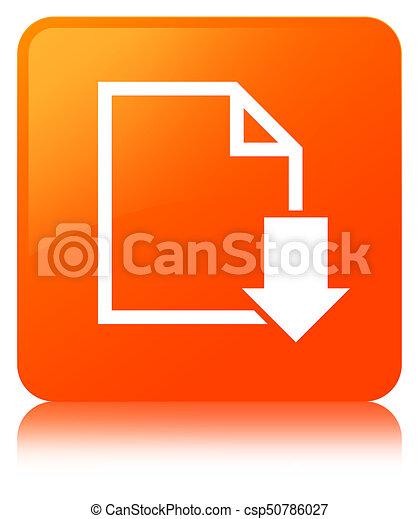 Download document icon orange square button - csp50786027
