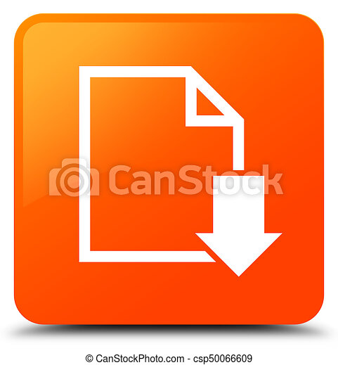 Download document icon orange square button - csp50066609