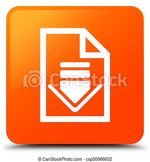 Download document icon orange square button - csp50066632