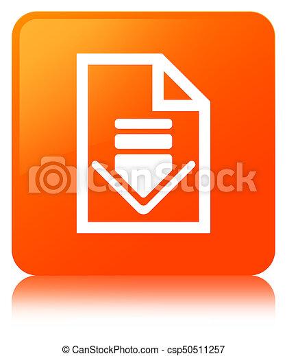 Download document icon orange square button - csp50511257