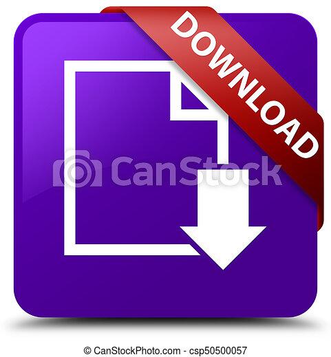 Download (document icon) purple square button red ribbon in corner - csp50500057