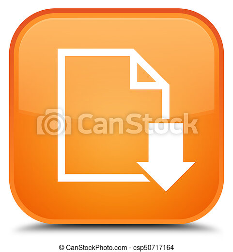 Download document icon special orange square button - csp50717164