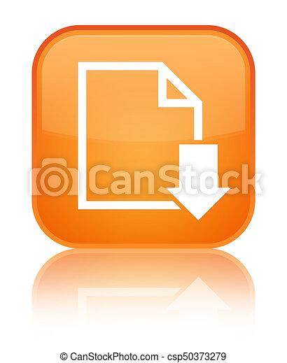 Download document icon special orange square button - csp50373279