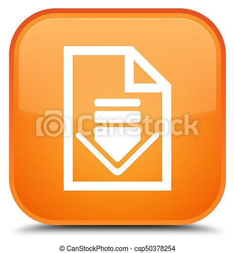 Download document icon special orange square button - csp50378254
