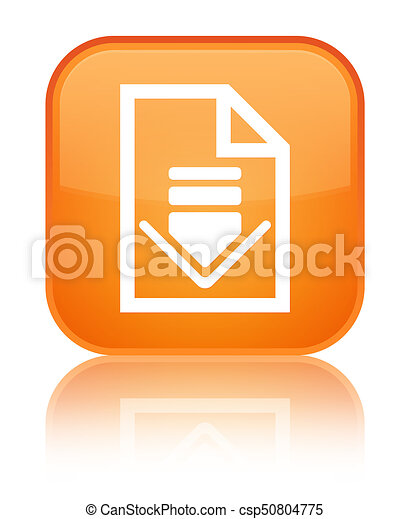 Download document icon special orange square button - csp50804775