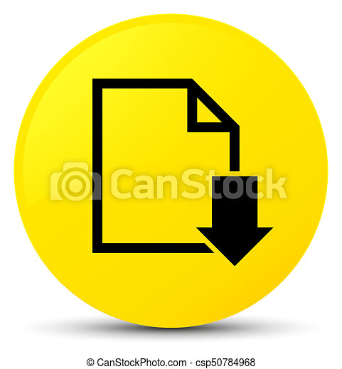 Download document icon yellow round button - csp50784968