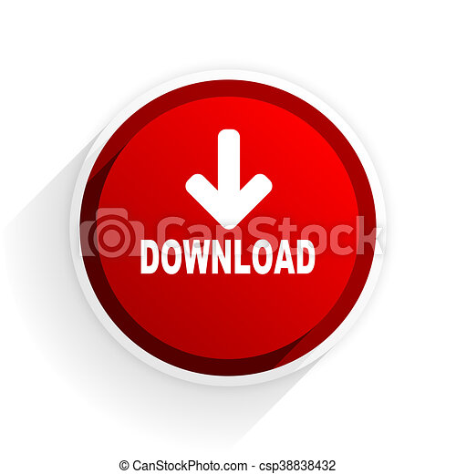 download flat icon with shadow on white background, red modern design web element - csp38838432