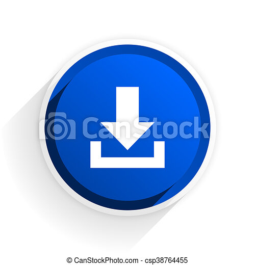 download flat icon with shadow on white background, blue modern design web element - csp38764455