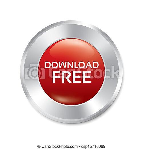 Download free button. Red round sticker. - csp15716069