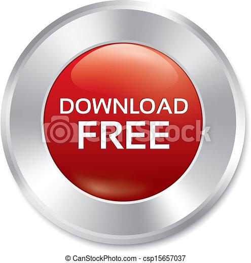 Download free button. Vector red round sticker. - csp15657037