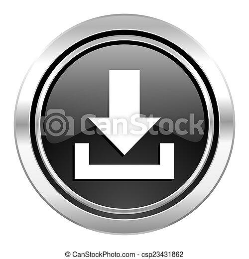download icon, black chrome button - csp23431862