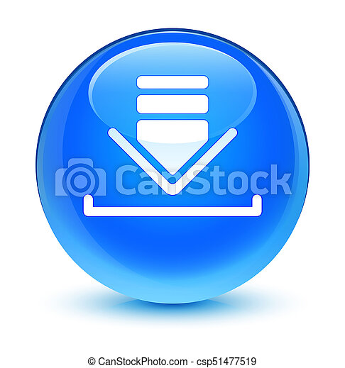 Download icon glassy cyan blue round button - csp51477519