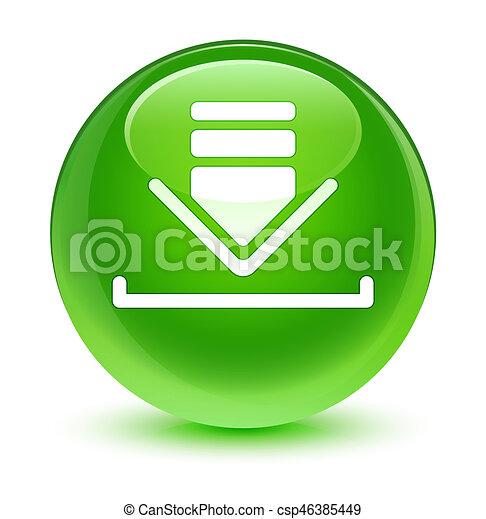 Download icon glassy green round button - csp46385449