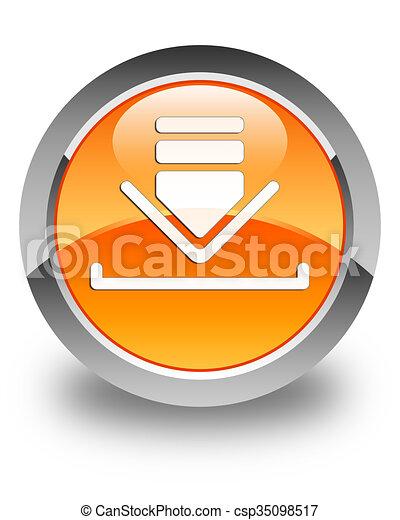 Download icon glossy orange round button - csp35098517