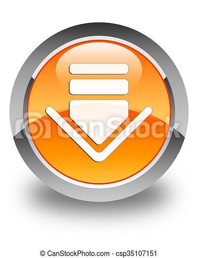 Download icon glossy orange round button 2 - csp35107151
