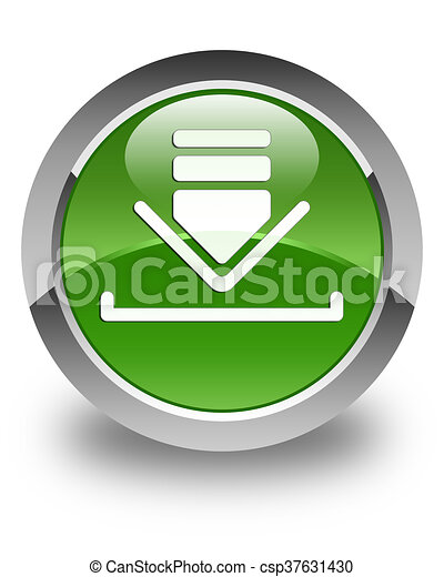 Download icon glossy soft green round button - csp37631430