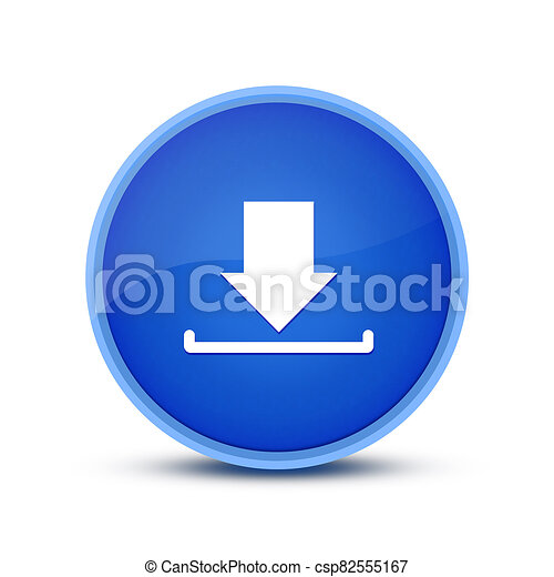Download icon isolated on glassy blue round button abstract - csp82555167