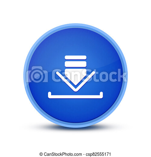 Download icon isolated on glassy blue round button abstract - csp82555171