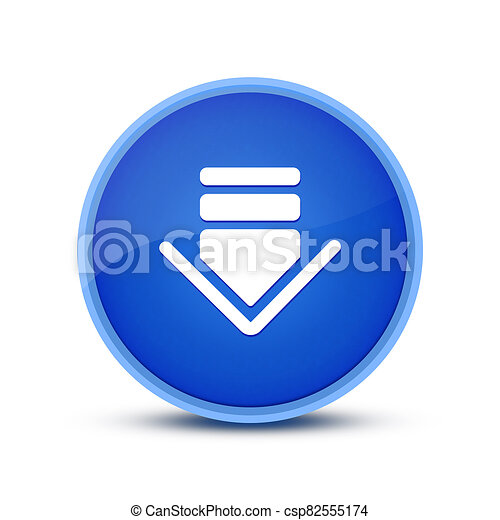 Download icon isolated on glassy blue round button abstract - csp82555174