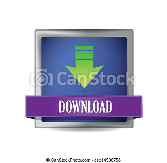 Download icon on glossy blue square - csp14536758