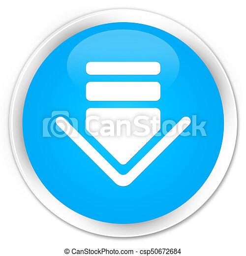 Download icon premium cyan blue round button - csp50672684