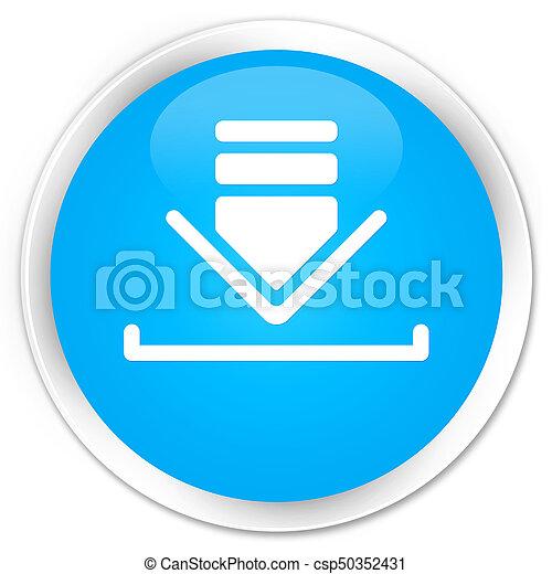 Download icon premium cyan blue round button - csp50352431