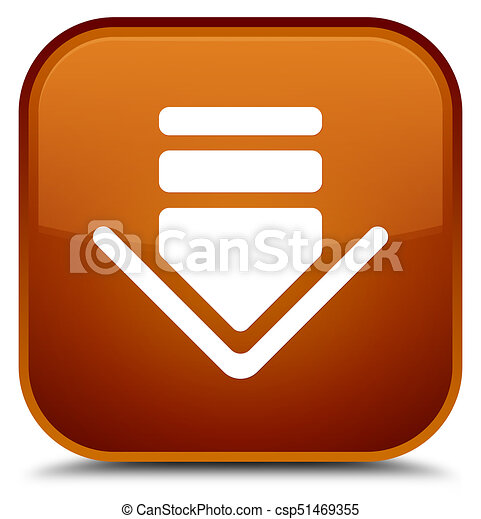 Download icon special brown square button - csp51469355