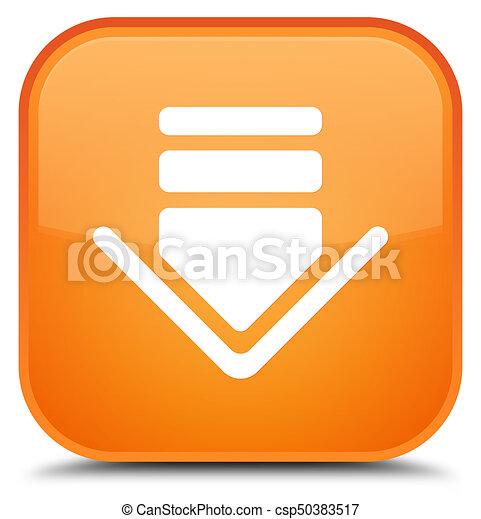 Download icon special orange square button - csp50383517