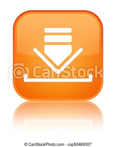 Download icon special orange square button - csp50469307