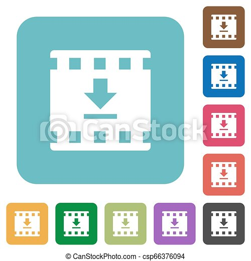 Download movie rounded square flat icons - csp66376094