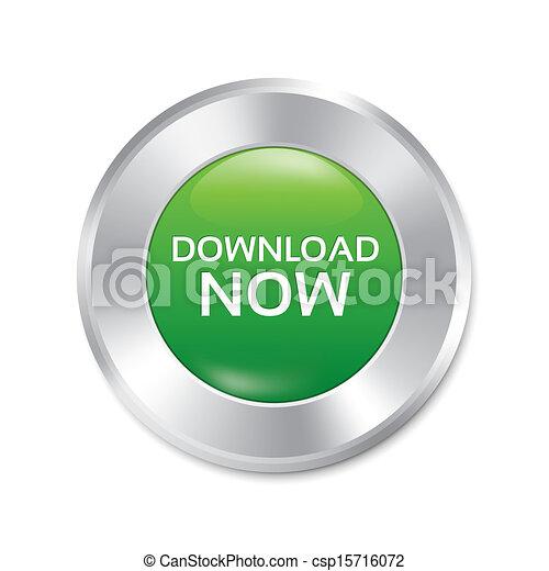 Download now button. Green round sticker. - csp15716072