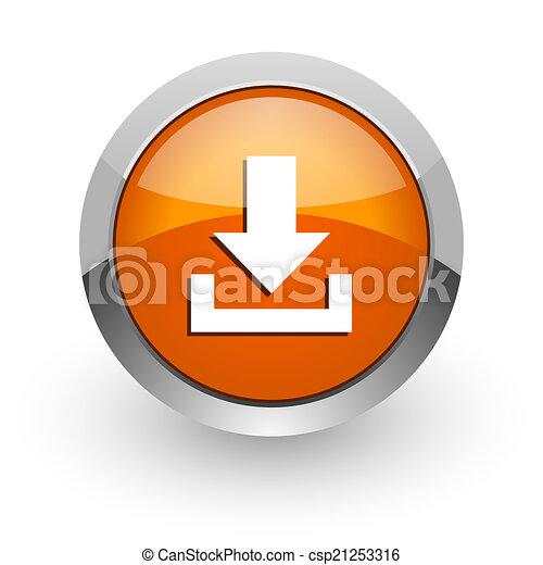 download orange glossy web icon - csp21253316