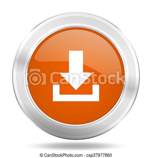 download orange icon, metallic design internet button, web and mobile app illustration - csp37977860