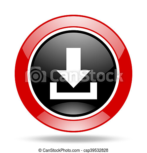 download red and black web glossy round icon - csp39532828