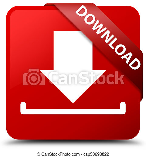 Download red square button red ribbon in corner - csp50693822