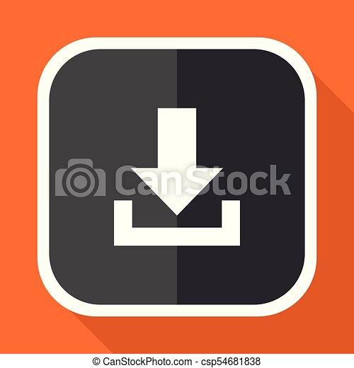 Download vector icon. Flat design square internet gray button on orange background. - csp54681838
