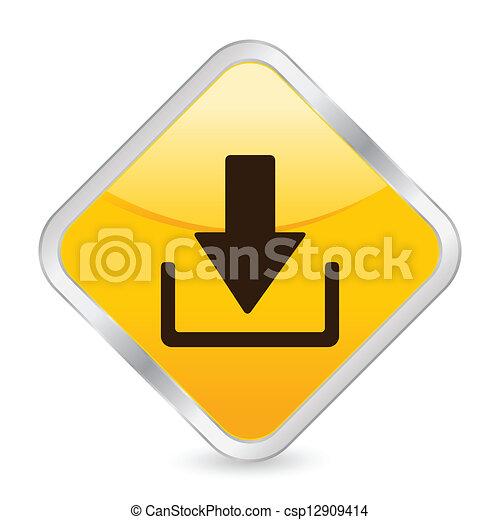 download yellow square icon - csp12909414