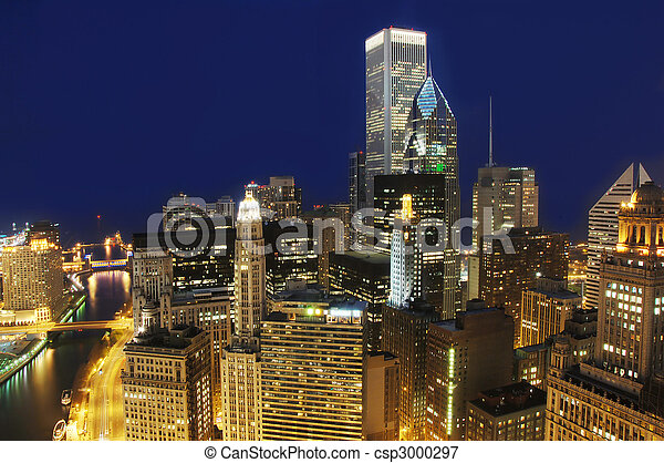 Downtown Chicago at Night - csp3000297