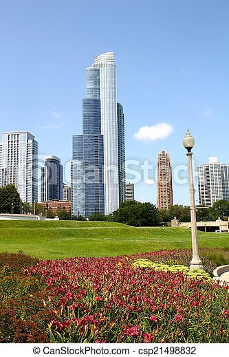 Downtown Chicago with Flowers - csp21498832