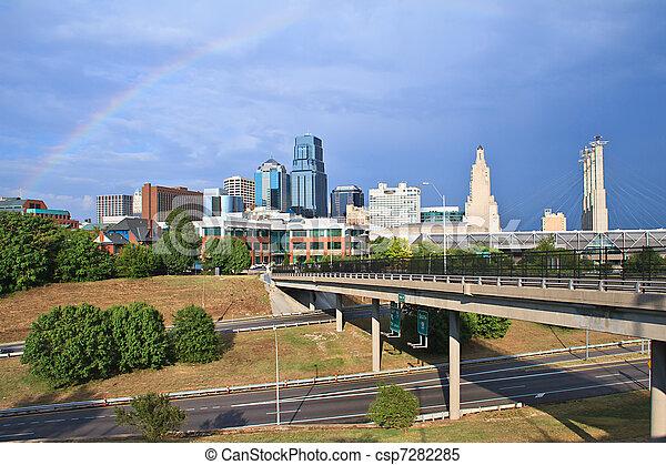 Downtown Kansas City Rainbow - csp7282285