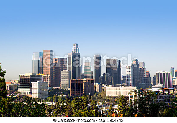 Downtown LA Los Angeles skyline California - csp15954742