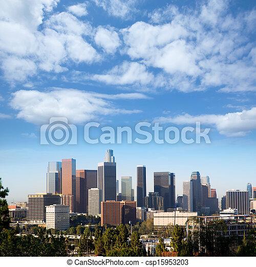 Downtown LA Los Angeles skyline California - csp15953203