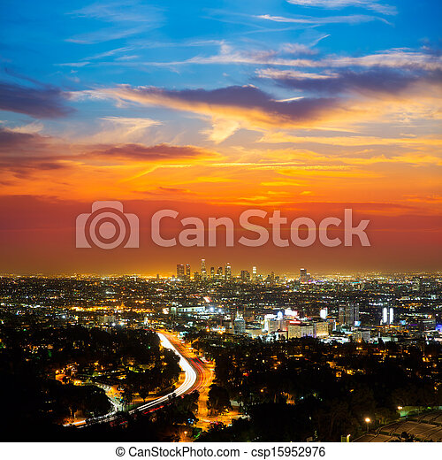 Downtown LA night Los Angeles sunset skyline California - csp15952976