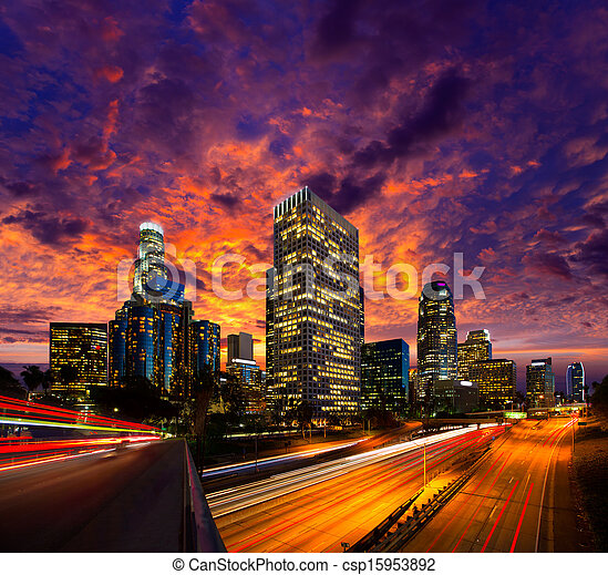 Downtown LA night Los Angeles sunset skyline California - csp15953892