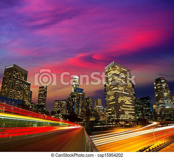 Downtown LA night Los Angeles sunset skyline California - csp15954202